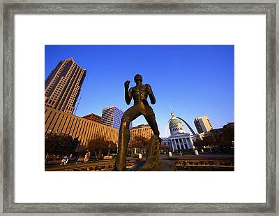 Statue Near Old Courthouse St Louis Mo Framed Print