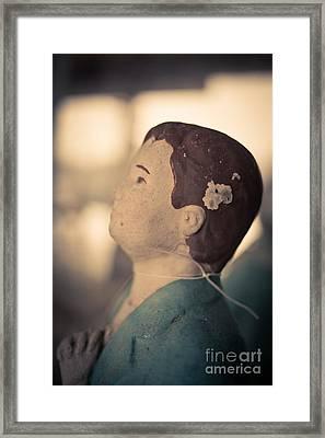 Statue Of A Boy Praying Framed Print