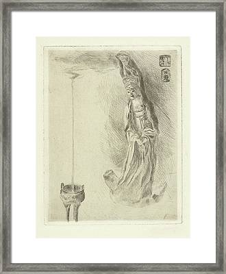 Statue Of A Japanese Goddess Framed Print by Adriaan Pit