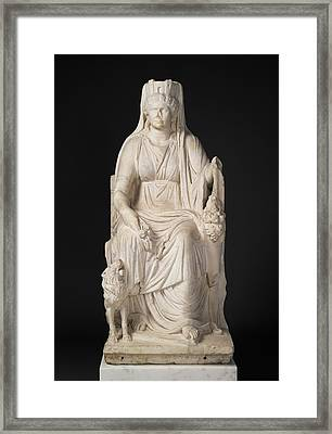 Statue Of A Seated Cybele With The Portrait Head Framed Print by Litz Collection