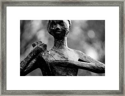 Statue Of A Woman In Black And White Framed Print