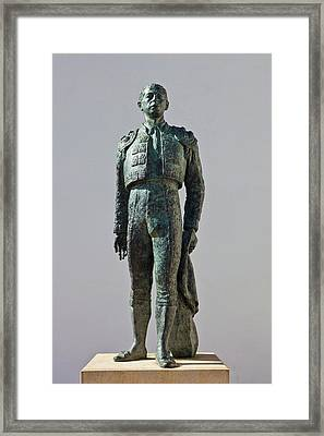 Statue Of Antonio Ordonez, Plaza De Framed Print