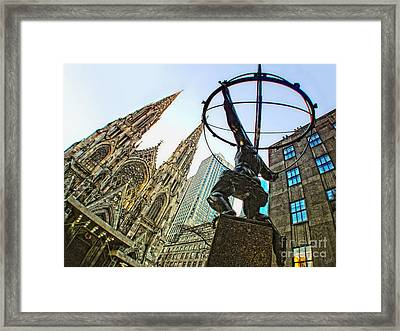 Statue Of Atlas Facing St.patrick's Cathedral Framed Print