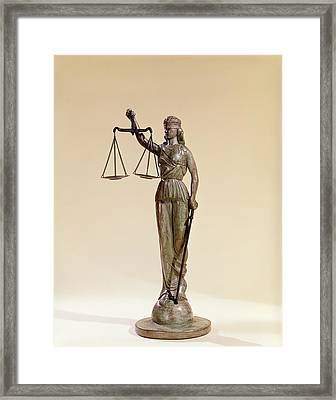 Statue Of Blind Justice Holding Scales Framed Print