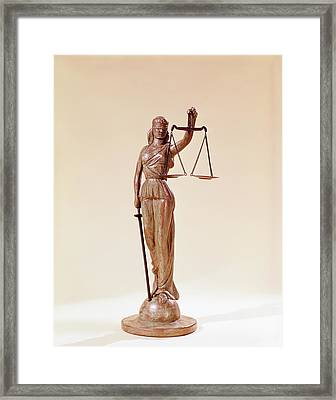Statue Of Blindfolded Lady Justice Framed Print