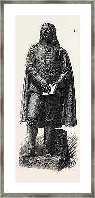Statue Of Bunyan At Bedford Framed Print by English School