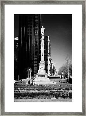 statue of Christopher Columbus on columbus circle new york city Framed Print by Joe Fox