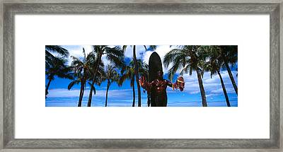 Statue Of Duke Kahanamoku, Duke Framed Print by Panoramic Images