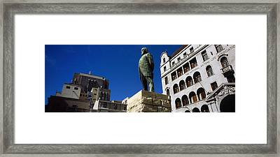 Statue Of Jan Hendrik Hofmeyr At A Town Framed Print by Panoramic Images