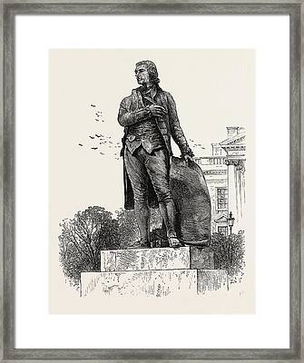 Statue Of Jefferson In Front Of The White House Framed Print by American School