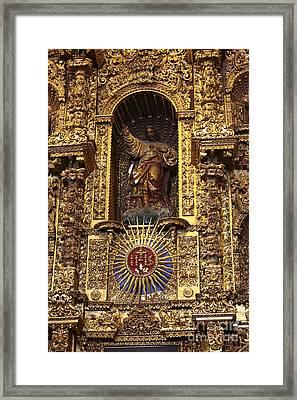 Statue Of Jesus On Altarpiece Framed Print