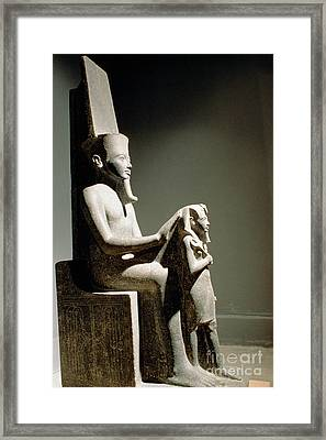 Statue Of King Horemheb With God Amun Framed Print by Adam Sylvester