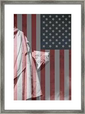 Statue Of Liberty And American Flag Framed Print