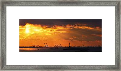 Statue Of Liberty At Sunset. Framed Print