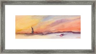 Statue Of Liberty At Sunset Watercolor Painting Of New York Framed Print