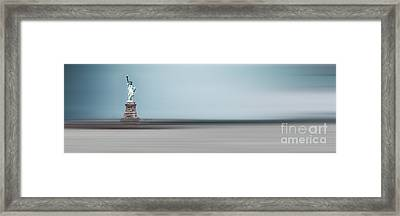 Statue Of Liberty - Blue Framed Print by Hannes Cmarits