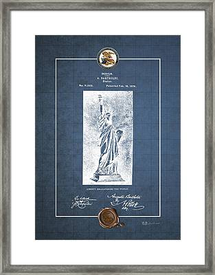 Statue Of Liberty By A. Bartholdi - Vintage Patent Blueprint Framed Print by Serge Averbukh