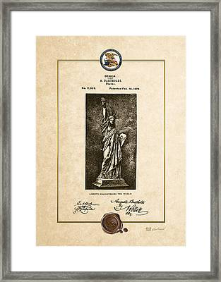 Statue Of Liberty By A. Bartholdi - Vintage Patent Document Framed Print by Serge Averbukh