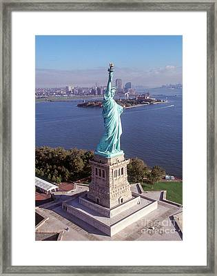 Statue Of Liberty Close Framed Print by Kim Lessel