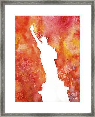 Statue Of Liberty Fiery Silhouette Framed Print by Ryan Fox