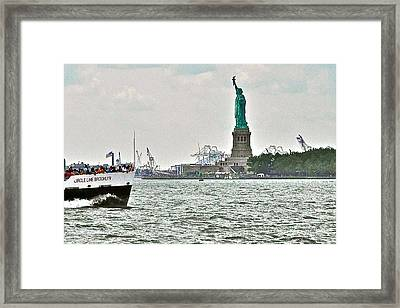 Statue Of Liberty From Battery Park In New York City-ny Framed Print by Ruth Hager