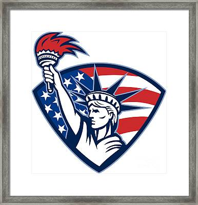 Statue Of Liberty Holding Flaming Torch Shield Framed Print