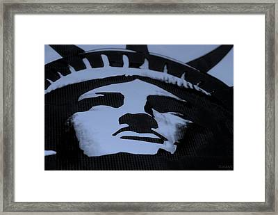 Statue Of Liberty In Dark Cyan Framed Print by Rob Hans