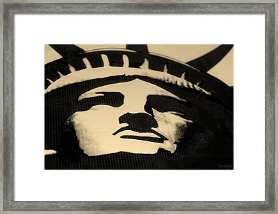 Statue Of Liberty In Dark Sepia Framed Print by Rob Hans