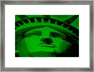 Statue Of Liberty In Green Framed Print by Rob Hans