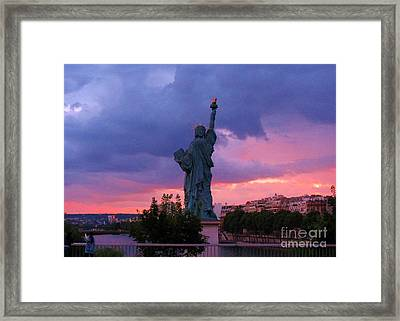 Statue Of Liberty In Paris Framed Print by John Malone