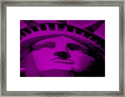 Statue Of Liberty In Purple Framed Print by Rob Hans
