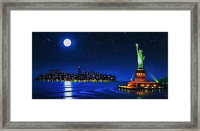 Statue Of Liberty In The Ny Horbor Framed Print