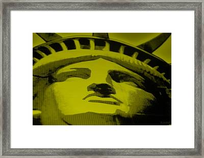 Statue Of Liberty In Yellow Framed Print