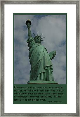 Statue Of Liberty Inscription Framed Print by National Park Service