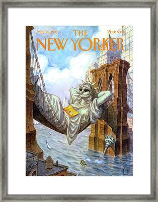 Statue Of Liberty Lounges Between The Brooklyn Framed Print by Peter de Seve