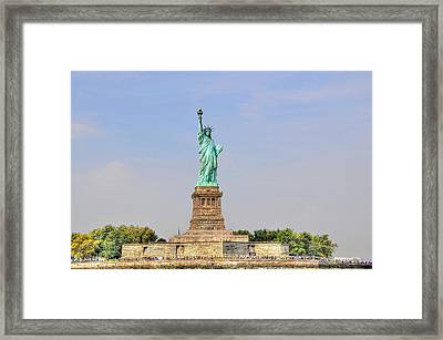Statue Of Liberty Macro View Framed Print by Randy Aveille