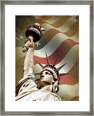 Statue Of Liberty Framed Print by Mark Rogan
