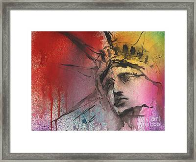 Statue Of Liberty New York Painting Framed Print