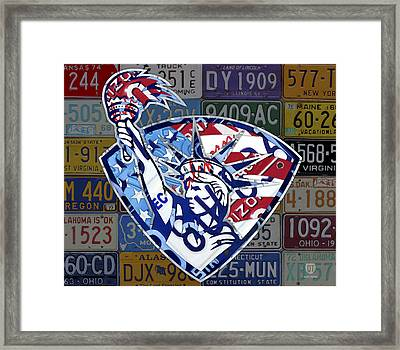 Statue Of Liberty On Stars And Stripes Flag Background Recycled Vintage License Plate Art Framed Print by Design Turnpike