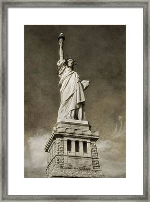 Statue Of Liberty Sepia Framed Print by Dan Sproul