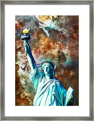 Statue Of Liberty - She Stands Framed Print by Sharon Cummings