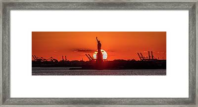 Statue Of Liberty Sunset. Nyc Harbor Framed Print