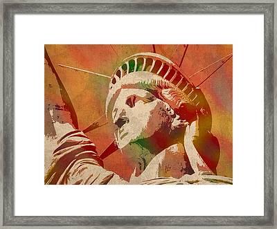 Statue Of Liberty Watercolor Portrait No 1 Framed Print