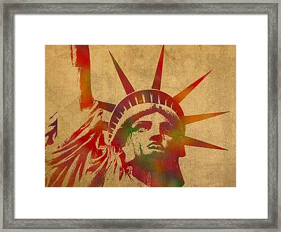 Statue Of Liberty Watercolor Portrait No 2 Framed Print by Design Turnpike