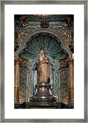 Statue Of Mary Holding The Baby Jesus Framed Print by Jaynes Gallery