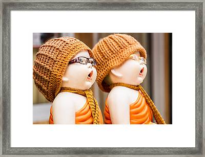 Statue Of Novices At Thai Temple  Framed Print
