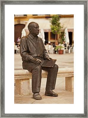 Statue Of Pablo Picasso, Plaza De La Framed Print
