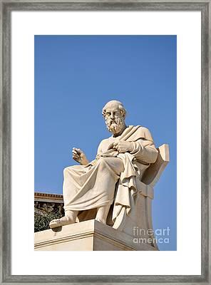 Statue Of Plato Framed Print by George Atsametakis