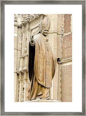 Statue Of Pope John Paul II Framed Print by Jess Kraft