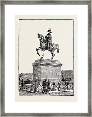 Statue Of Prince Schwarzenberg, Vienna, Austria Framed Print by Austrian School